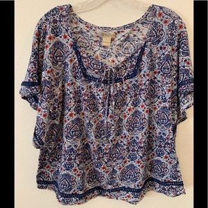 Lucky Brand Short Sleeve Boho Top - Size Large